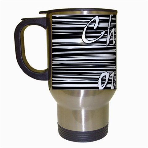 Black an white  Chill out  Travel Mugs (White)