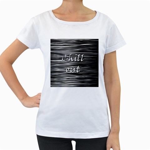 Black an white  Chill out  Women s Loose-Fit T-Shirt (White)