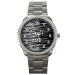 Black an white  Chill out  Sport Metal Watch Front