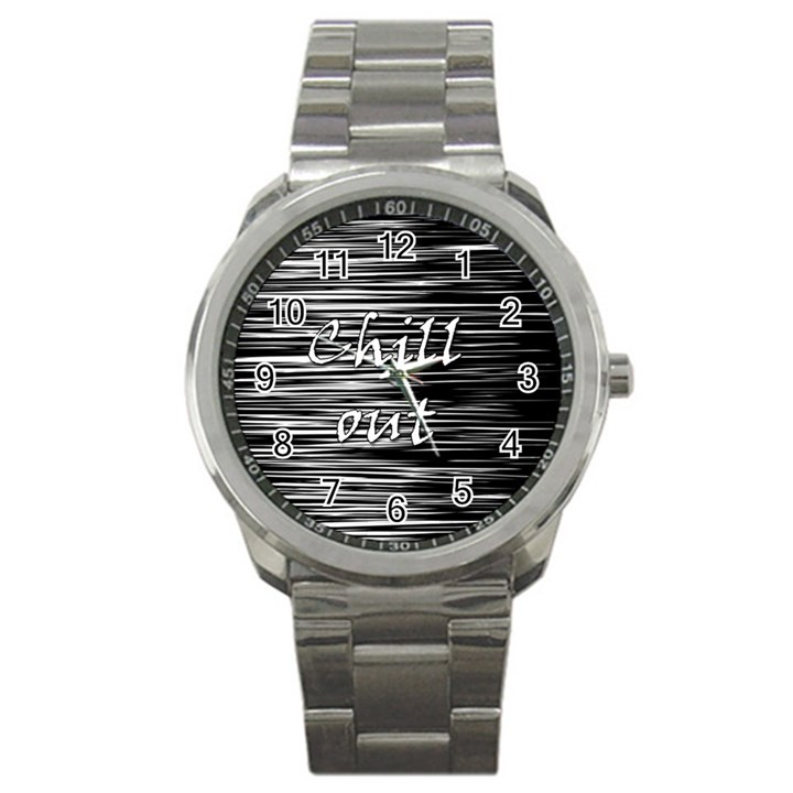 Black an white  Chill out  Sport Metal Watch