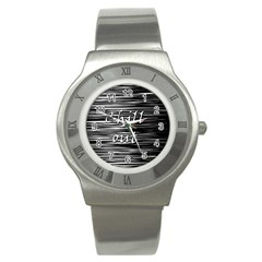 Black An White  chill Out  Stainless Steel Watch