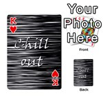 Black an white  Chill out  Playing Cards 54 Designs  Front - HeartK