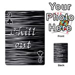 Black an white  Chill out  Playing Cards 54 Designs  Front - Club9