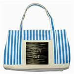 Black an white  Chill out  Striped Blue Tote Bag Front