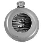 Black an white  Chill out  Round Hip Flask (5 oz) Front
