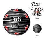 Black an white  Chill out  Playing Cards 54 (Round)  Front - Heart3