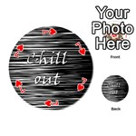 Black an white  Chill out  Playing Cards 54 (Round)  Front - Heart7