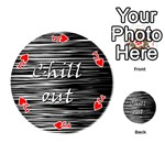 Black an white  Chill out  Playing Cards 54 (Round)  Front - HeartJ