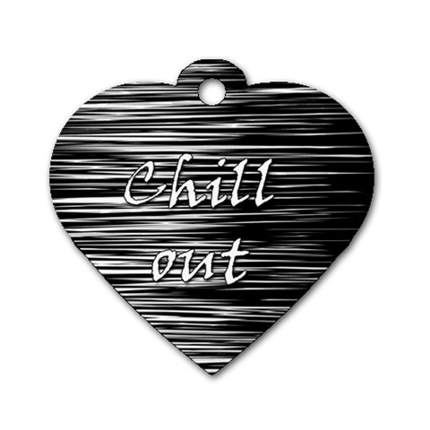 Black an white  Chill out  Dog Tag Heart (One Side)