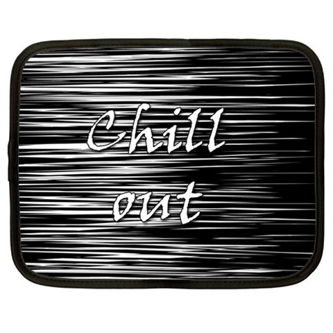 Black an white  Chill out  Netbook Case (Large)