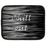 Black an white  Chill out  Netbook Case (Large) Front