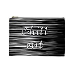 Black an white  Chill out  Cosmetic Bag (Large)  Front