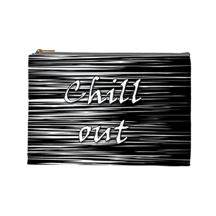 Black an white  Chill out  Cosmetic Bag (Large)