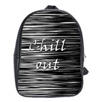 Black an white  Chill out  School Bags(Large)  Front