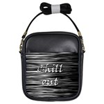 Black an white  Chill out  Girls Sling Bags Front