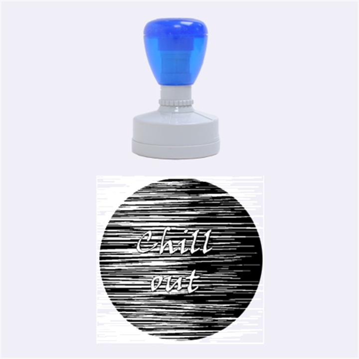 Black an white  Chill out  Rubber Round Stamps (Medium)