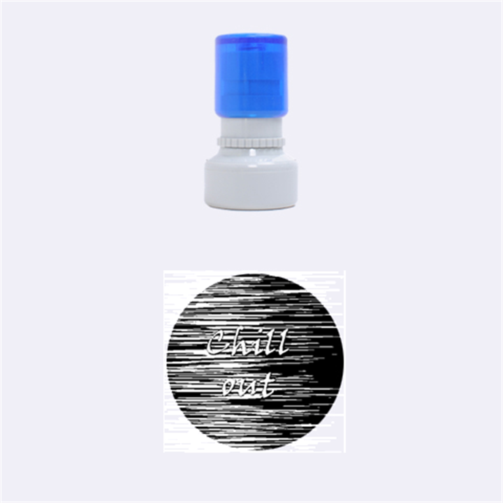Black an white  Chill out  Rubber Round Stamps (Small)