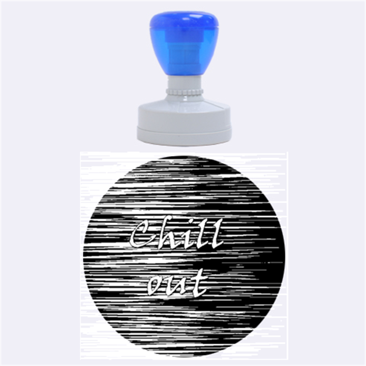 Black an white  Chill out  Rubber Round Stamps (Large)
