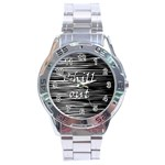 Black an white  Chill out  Stainless Steel Analogue Watch Front