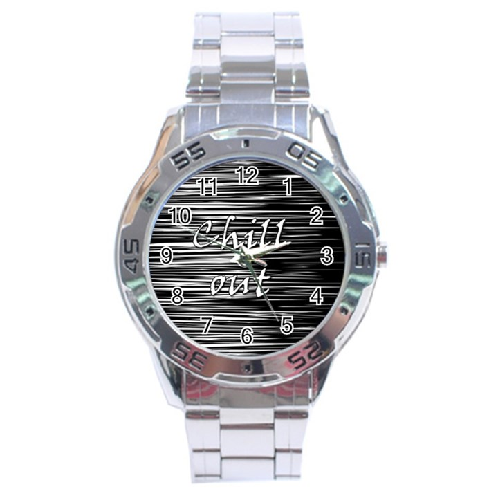 Black an white  Chill out  Stainless Steel Analogue Watch