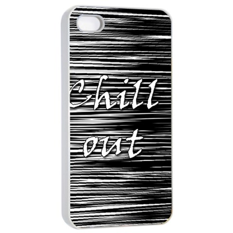 Black an white  Chill out  Apple iPhone 4/4s Seamless Case (White)
