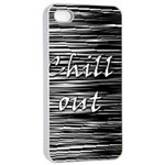 Black an white  Chill out  Apple iPhone 4/4s Seamless Case (White) Front
