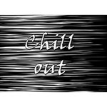 Black an white  Chill out  Heart 3D Greeting Card (7x5) Back