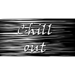 Black an white  Chill out  Twin Heart Bottom 3D Greeting Card (8x4) Back