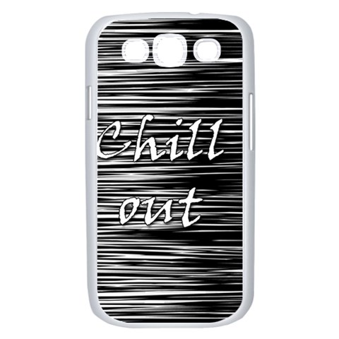 Black an white  Chill out  Samsung Galaxy S III Case (White)