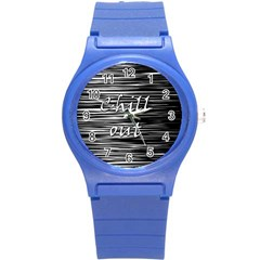 Black an white  Chill out  Round Plastic Sport Watch (S)