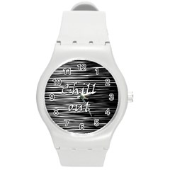 Black an white  Chill out  Round Plastic Sport Watch (M)