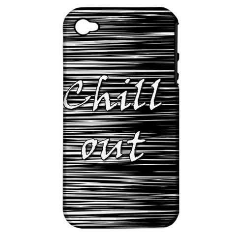 Black an white  Chill out  Apple iPhone 4/4S Hardshell Case (PC+Silicone)