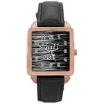 Black an white  Chill out  Rose Gold Leather Watch  Front