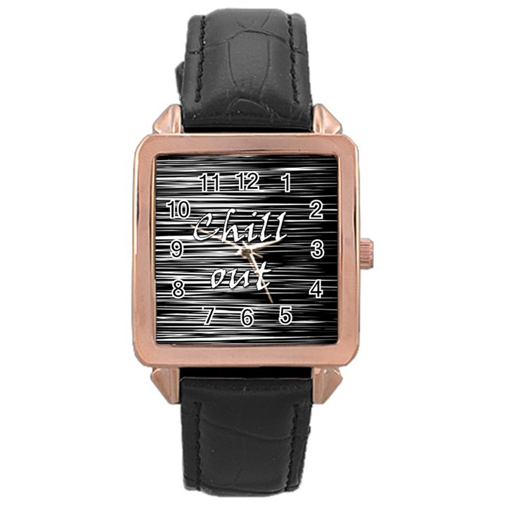 Black an white  Chill out  Rose Gold Leather Watch
