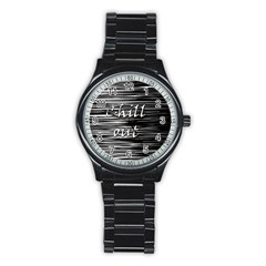 Black An White  chill Out  Stainless Steel Round Watch