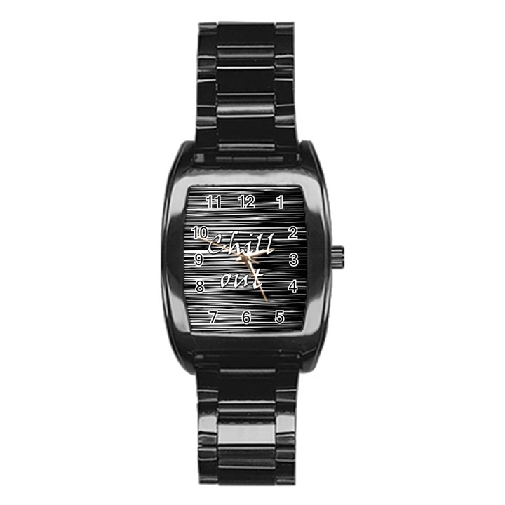 Black an white  Chill out  Stainless Steel Barrel Watch
