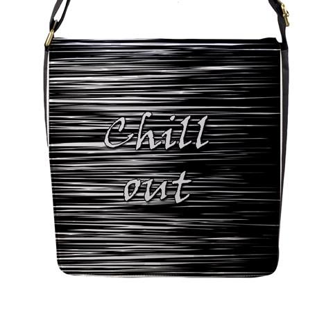 Black an white  Chill out  Flap Messenger Bag (L)