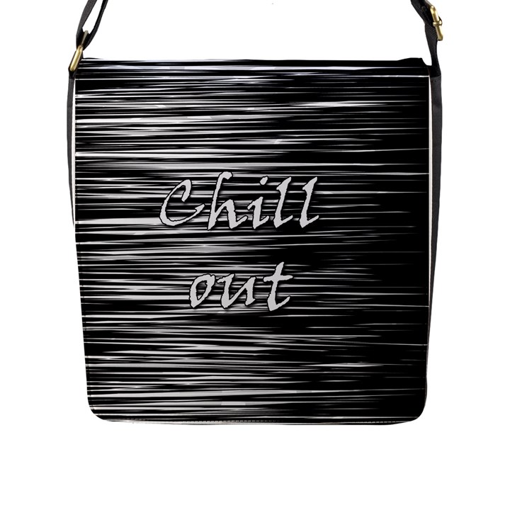 Black an white  Chill out  Flap Messenger Bag (L)