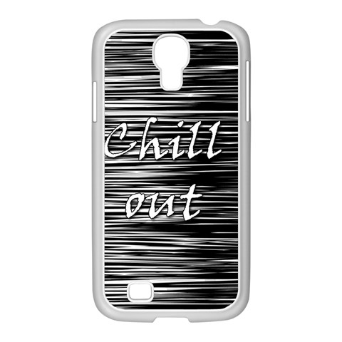 Black an white  Chill out  Samsung GALAXY S4 I9500/ I9505 Case (White)