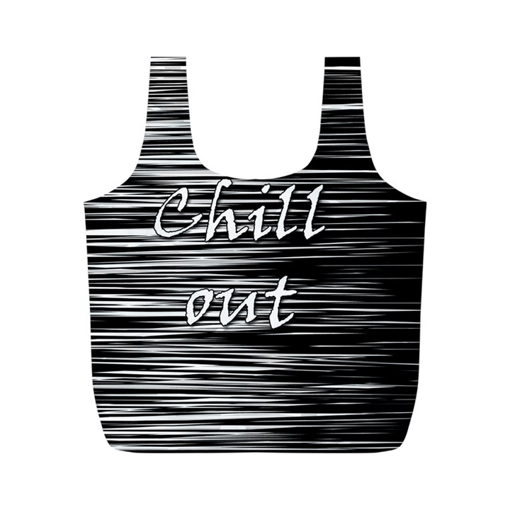 Black an white  Chill out  Full Print Recycle Bags (M)