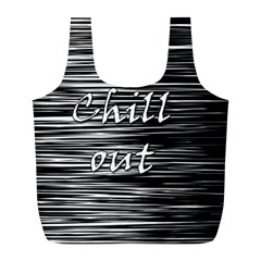 Black an white  Chill out  Full Print Recycle Bags (L)