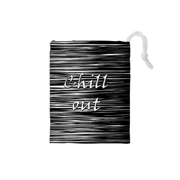 Black an white  Chill out  Drawstring Pouches (Small)