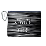 Black an white  Chill out  Canvas Cosmetic Bag (L) Front