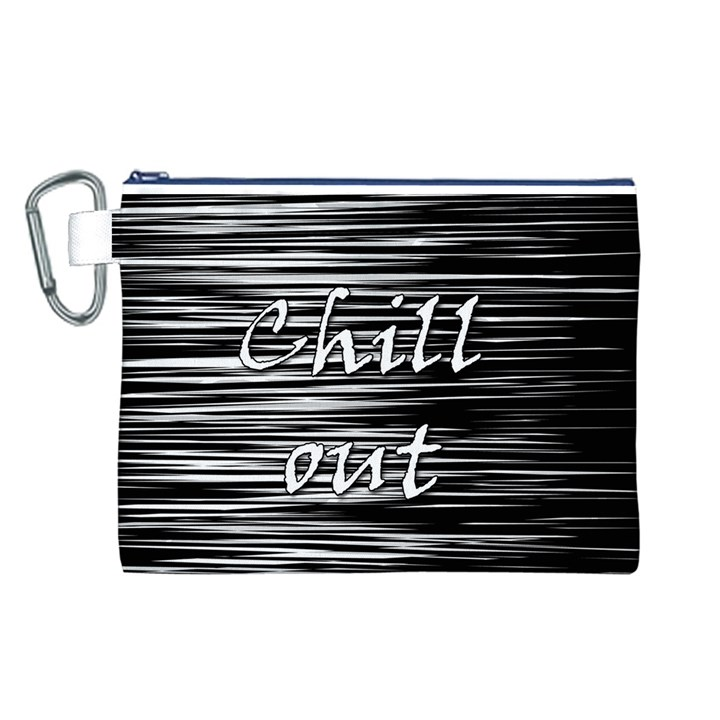 Black an white  Chill out  Canvas Cosmetic Bag (L)