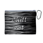 Black an white  Chill out  Canvas Cosmetic Bag (L) Back