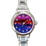 Lights Abstract Curves Long Exposure Round Italian Charm Watch Front