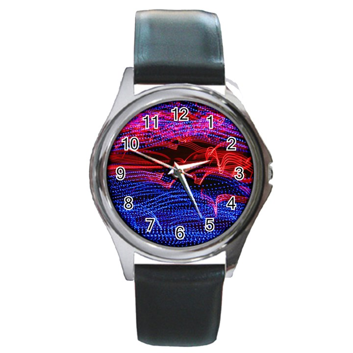 Lights Abstract Curves Long Exposure Round Metal Watch