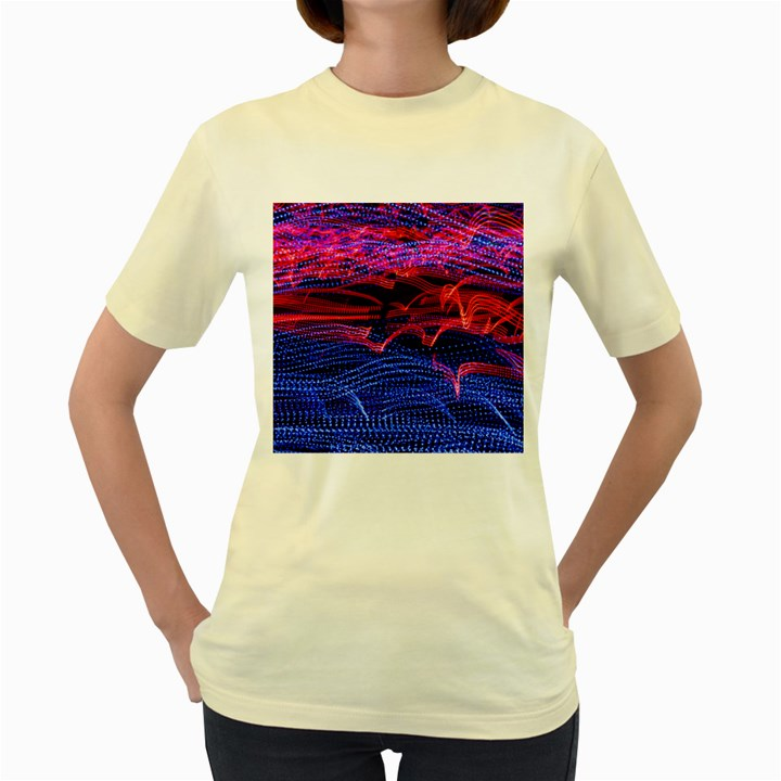 Lights Abstract Curves Long Exposure Women s Yellow T-Shirt