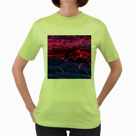 Lights Abstract Curves Long Exposure Women s Green T-Shirt