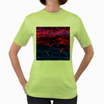 Lights Abstract Curves Long Exposure Women s Green T-Shirt Front
